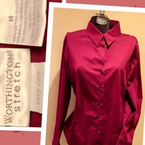 Worthington stretch Burgundy button up shirt sz14